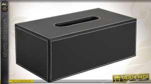 Boîte à mouchoirs en simili cuir noir