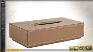 Boîte à mouchoirs en similicuir brun