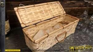 Coffret en bambou tressé finition clair, pour bouteille ou pain, accessoire de table, 33cm