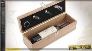 Coffret bouteille de vin + 4 accessoires