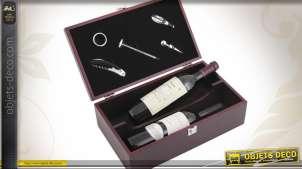 Coffret à bouteilles de vin + 5 accessoires coloris Bordeaux