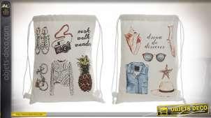 Série de deux sacs à dos ficelles pour petits accessoires, motifs d'objets imprimés en finition vintage, 36cm