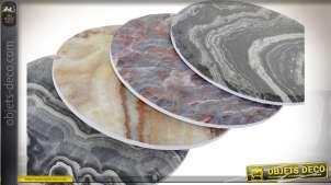 Série de 4 dessous d'assiettes avec impression de motifs de géodes, finitions colorées, style rustico moderne, Ø20cm