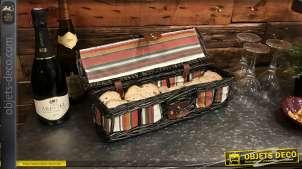 Coffret en osier teinté noir et doublure avec motifs bayadères colorées, 42cm