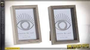 Série de deux cadres photos en bois et verre, style moderne et finitions grises, 10x15cm