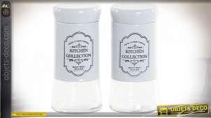 Set sel et poivre en verre et inox, ambiance vintage avec blasons décoratifs en façades, Ø5cm