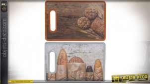 Série de deux planches à découper en plastique dur, impressions d'images de boulangerie, accessoire de cuisine, 30cm