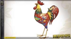 Coq en métal coloré motifs stylisés 51,5 cm