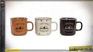 Série de trois mugs en grès, finition chocolat noir, crème et brun noisette, style campagne chic, 480ml