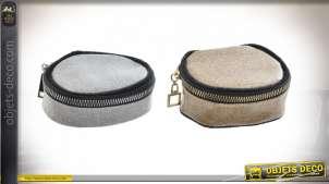 Série de deux portes monnaies de plage en tissus épais, finitions brillantes de différentes couleurs, 10cm