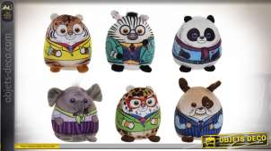 PELUCHE POLYESTER 11X9X14 ANIMAUX 6 MOD.