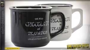 Série de deux mugs en grès, finition chocolat noir et blanc ancien, style vintage vieille maison, 120ml