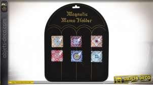 Série de 6 aimants décoratifs en verre avec motifs de mandalas colorés, de formes carrées, 5x5cm