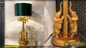 Lampe de salon de luxe style exotique avec palmier et éléphants 74 cm