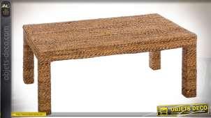 Table basse exotique en bois et fibre de bananier 120 x 60 cm