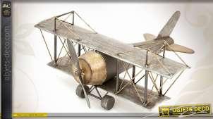 Avion décoratif biplan de style rétro en métal