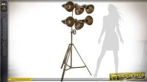 Lampadaire industriel rétro 6 projecteurs trépied métal vieil or 1,76 m