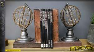 Serre-livres en forme de sphères armillaires style rétro 24 cm