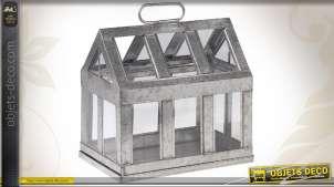 Mini-serre maison en zinc et verre