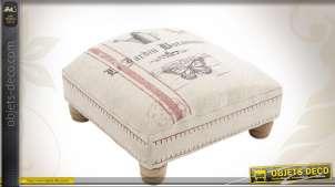Pouf en toile de jute avec pieds en bois tourné