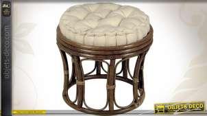 Tabouret en rotin brun de Java coussin 100 % coton garni Kapok