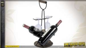 Porte-bouteilles et verres en métal noir et rotin
