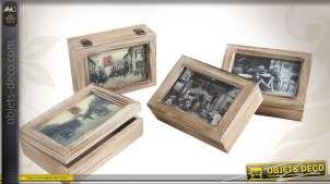Série de 4 boîtes en bois de style rétro