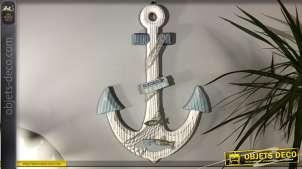 Ancre décorative en bois, finition clair et effet ancien, corde style filet de pêche, 61cm de hauteur finale,
