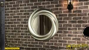 Miroir rond de style moderne, encadrement en résine finition aluminium effet brossé, 70cm
