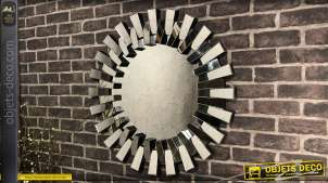 Miroir rond en relief, finition noir ancien, style moderne, fabriqué en mélaminé, 76cm de diamètre