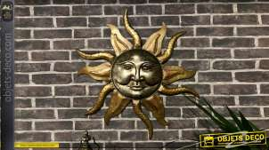 Décoration murale en métal en forme de soleil Aztèque, finition doré et reflets cuivré effet ancien