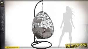 Balancelle suspendue de forme ovale réglable en polyrésine et acier 195 cm