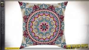 Grand coussin en coton épais avec broderies de mandalas roses sur fond crème, 60cm