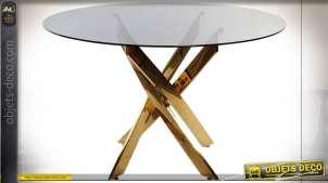 TABLE VERRE ACIER 120X120X75 8 MM. MAT DORÉ