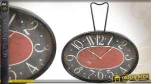Grande horloge murale ovale en métal et verre style rétro