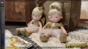 Série de deux fées en peluche esprit poupées enfantines, finitions colorées, en polyester et coton, 45cm