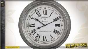 Horloge en verre et métal finition zinc style rétro