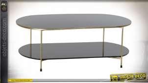 TABLE BASSE MÉTAL VERRE 100X50X35 NOIR ET OR