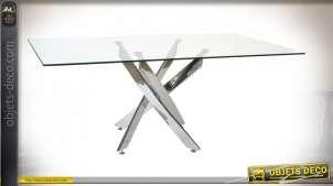 TABLE VERRE MÉTAL 150X90X75 50 CHROME TRANSPARENT
