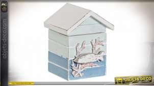 Petite boite en bois en forme de maison, esprit cabane de plage bord de mer, finitions anciennes, 10cm
