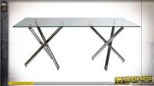 TABLE VERRE MÉTAL 180X90X75 80 DOUBLE PATTE CHROME