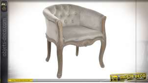 FAUTEUIL POLYESTER RUBBERWOOD 62X58X69 GRIS CLAIR