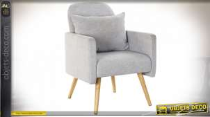 FAUTEUIL POLYESTER PIN 64X69X88 COUSSIN GRIS
