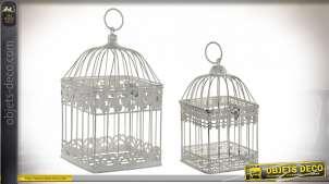 Série de deux cages décoratives en métal, finition vieux blanc, style romantique, 35cm