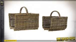 PORTE BÛCHES SET 2 ROTIN 50X40X45 MARRON