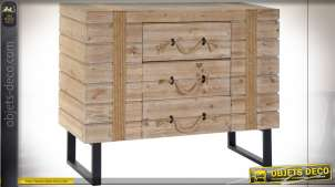 COMMODE BOIS CORDE 100,5X39X80,5 NATUREL