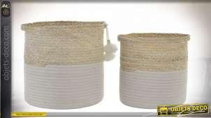 Serie de 2 corbeilles en fibres naturelles tressée, finition naturelle et blanche avec pompons, 28cm