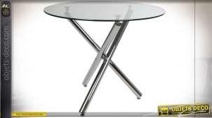 TABLE VERRE MÉTAL 90X90X75 25 CHROME TRANSPARENT