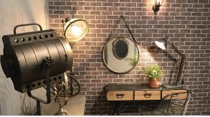 Miroir en métal circulaire, encadrement en métal finition vieux laiton, grand ceinture de suspension style moderno industriel, Ø60cm