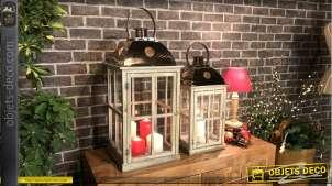 Duo de lanternes cottage en bois et métal aspect rustique 66 cm